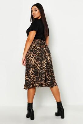 boohoo Plus Jersey Animal Print Midi Skater Skirt
