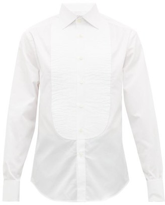 Brunello Cucinelli Pintucked Bib Cotton Twill Tuxedo Shirt - Mens - White