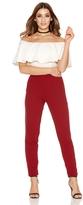 Quiz Wine Crepe Elastic Waist Pocket Trousers