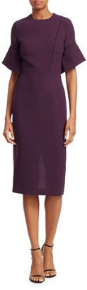 Roland Mouret Bancroft Piped Bell-Sleeve Wool Dress