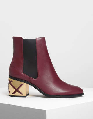 Charles & Keith Weave Detail Chrome Heel Leather Chelsea Boots