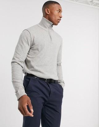 Jack and Jones quarter zip knitted jumper in grey