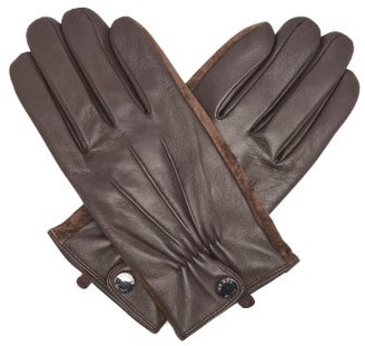 Dents Leather And Suede Touchscreen Gloves - Brown