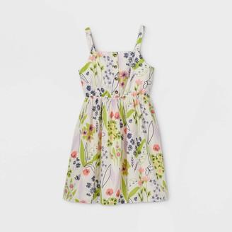Cat & Jack Girl' Button-Font Floral leevele Woven Dre - Cat & JackTM