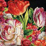 Dimensions Crafts Needlepoint Kit, Bouquet on Black