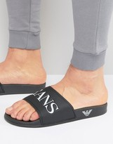 Armani Jeans Logo Slider Flip Flops In Black