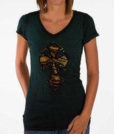 Velvet Stone Cross V-Neck T-Shirt