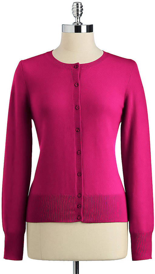Lord & Taylor Petite Fall Brights Cashmere Long Sleeve Crew Cardigan Sweater