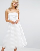 True Decadence Midi Prom Dress In Stripe