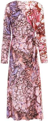 Diane von Furstenberg Tilly Marbled Silk-satin Midi Wrap Dress