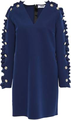 MSGM Ruffled Button-embellished Crepe Mini Dress