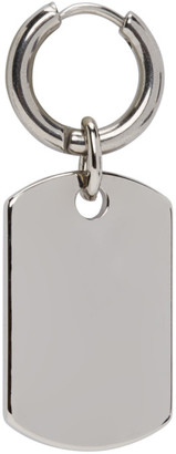 Martine Ali Silver Single Dog Tag Earring