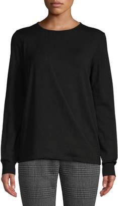 Halston H Long-Sleeve Overlay Drape Sweater