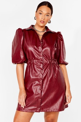 Nasty Gal Womens If You Faux Leather Wanna Be in Love Plus Dress - Burgundy