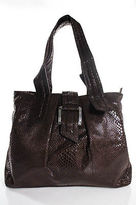 Tahari Brown Embossed Faux Leather Large Double Handle Shoulder Handbag