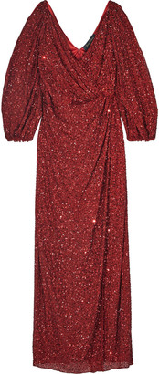 Jenny Packham Cold-shoulder Wrap-effect Embellished Chiffon Gown