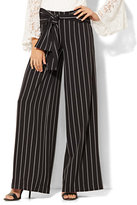 New York & Co. Wide-Leg Pant - Black & White Stripe
