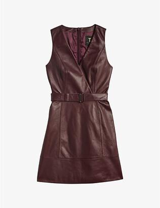 Ted Baker Sleeveless leather mini wrap dress