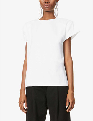 Magda Butrym Padded-shoulders cotton-jersey T-shirt