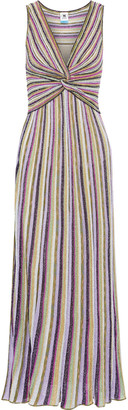 M Missoni Twist-front Metallic Crochet-knit Maxi Dress