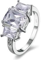MoAndy Plated Ring For Women Three Cubic Zirconia Wedding Size 6