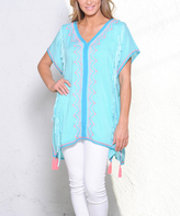 Paparazzi Aqua & Pink Embroidery Tassel-Hem V-Neck Tunic