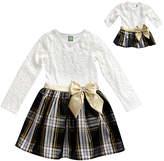 Dollie & Me White & Black Plaid & Lace A-Line Dress & Doll Dress - Girls