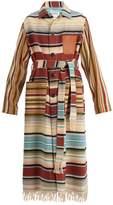 LOEWE Frayed patch-pocket striped robe coat