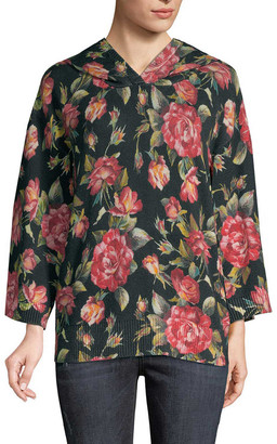 Dolce & Gabbana Floral Cashmere Hoodie Sweater