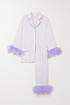 Sleeper Party Feather-trimmed Crepe De Chine Pajama Set - Lilac