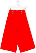 Elisabetta Franchi La Mia Bambina - button embellished cropped trousers - kids - Polyester - 14 yrs