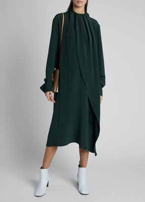 Loewe Long-Sleeve Draped Silk Scarf-Tie Midi Dress
