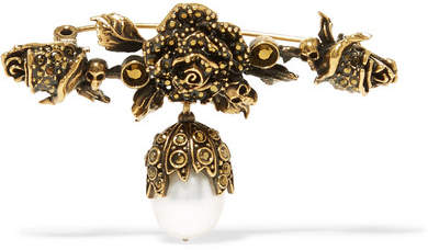 Alexander McQueen Gold-plated Faux Pearl Brooch