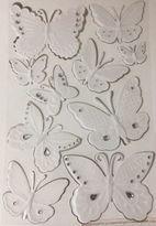 Martha Stewart Embossed Butterflies & Gem Dimensional Stickers(10pc •wedding•bug