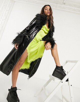 The Ragged Priest coat with faux fur trims in vinyl