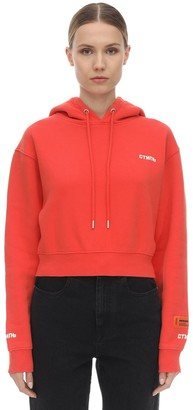 Heron Preston Cropped Cotton Jersey Sweatshirt Hoodie