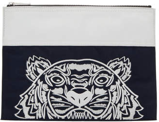 Kenzo Navy and White Limited Edition Colorblock Tiger Pouch