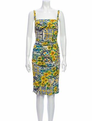 Dolce & Gabbana Printed Knee-Length Dress Yellow