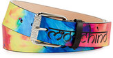 Moschino Men's Tie-Dye Leather Belt, Multicolor