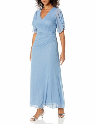 Jessica Howard JessicaHoward Women's Petite Asymmetrical Butterfly Sleeve Shirred Surplus Bodice Gown with Slit