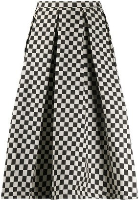 Paul & Shark check-print A-line skirt
