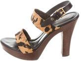 Saint Laurent Leopard Print Platform Sandals