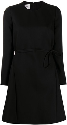 Valentino Belted Long-Sleeve Dress