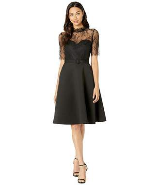 Badgley Mischka Sheer Lace T-Shirt Fit and Flare Cocktail