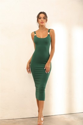 Miss Floral Criss Gold Detail Straps Ribbed Bodycon Midi Dress In Green