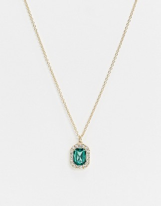 Asos Design DESIGN necklace with green jewel pendant in gold tone