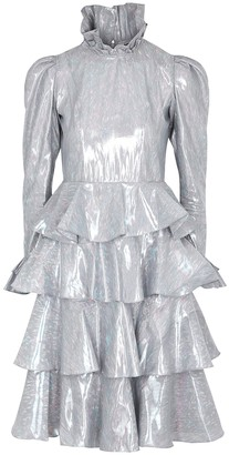 Batsheva Silver ruffle-trimmed lame dress