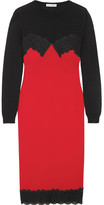 Altuzarra Debbie Lace-trimmed Merino Wool And Crepe Dress - Crimson