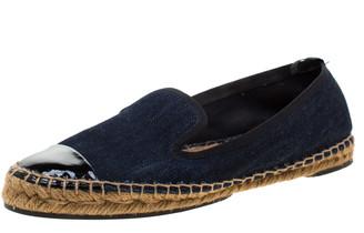 Fendi Indigo Dark Wash Denim Junia Patent Leather Cap Toe Espadrilles Size 37.5