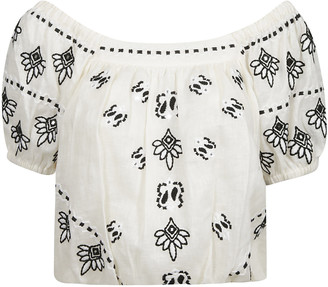 Tory Burch Embroidered Crop Top